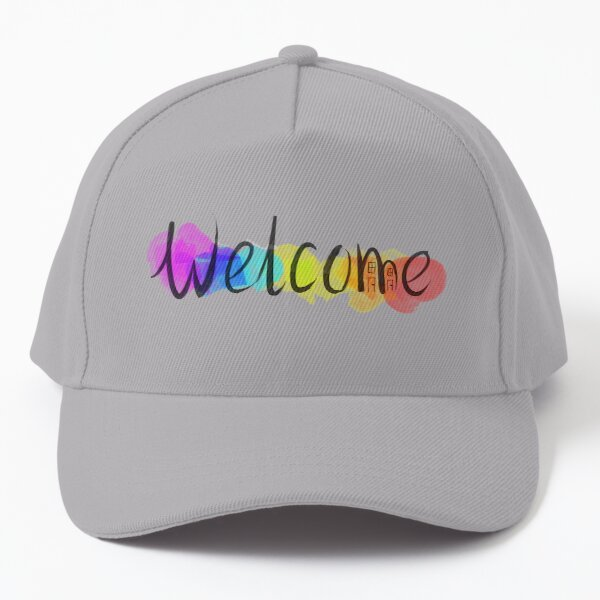 Welcome - Hand-Lettered Design on a Rainbow Background Baseball Cap
