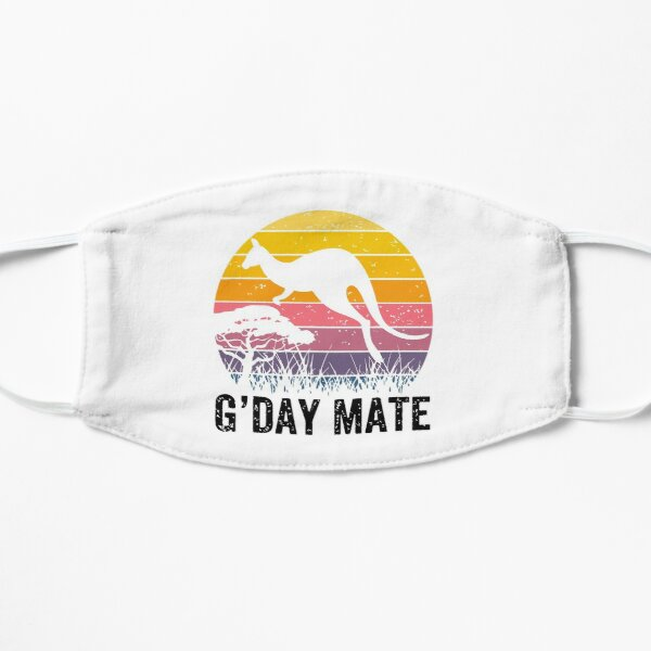 Australia G'Day Mate Shirt Funny Kangaroo Australian Symbol  Flat Mask