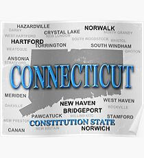 Aged Connecticut State Pride Map Poster
