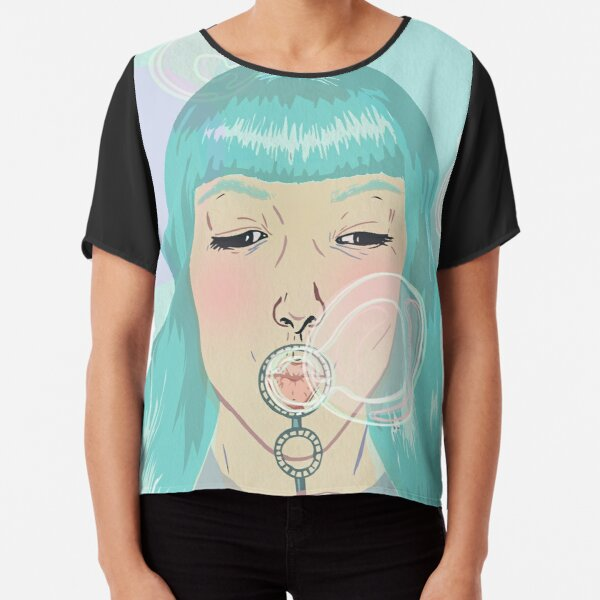 Blue Girl Blowing Bubbles Chiffon Top