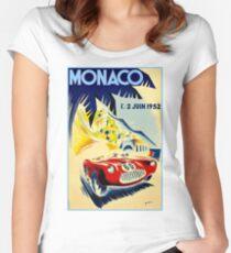 MONACO GRAND PRIX; Vintage Auto Racing Print Women's Fitted Scoop T-Shirt