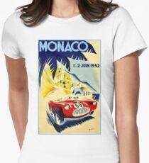 MONACO GRAND PRIX; Vintage Auto Racing Print Womens Fitted T-Shirt
