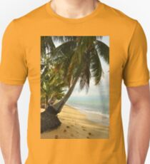 tropical beach with coconut palm trees T-Shirt