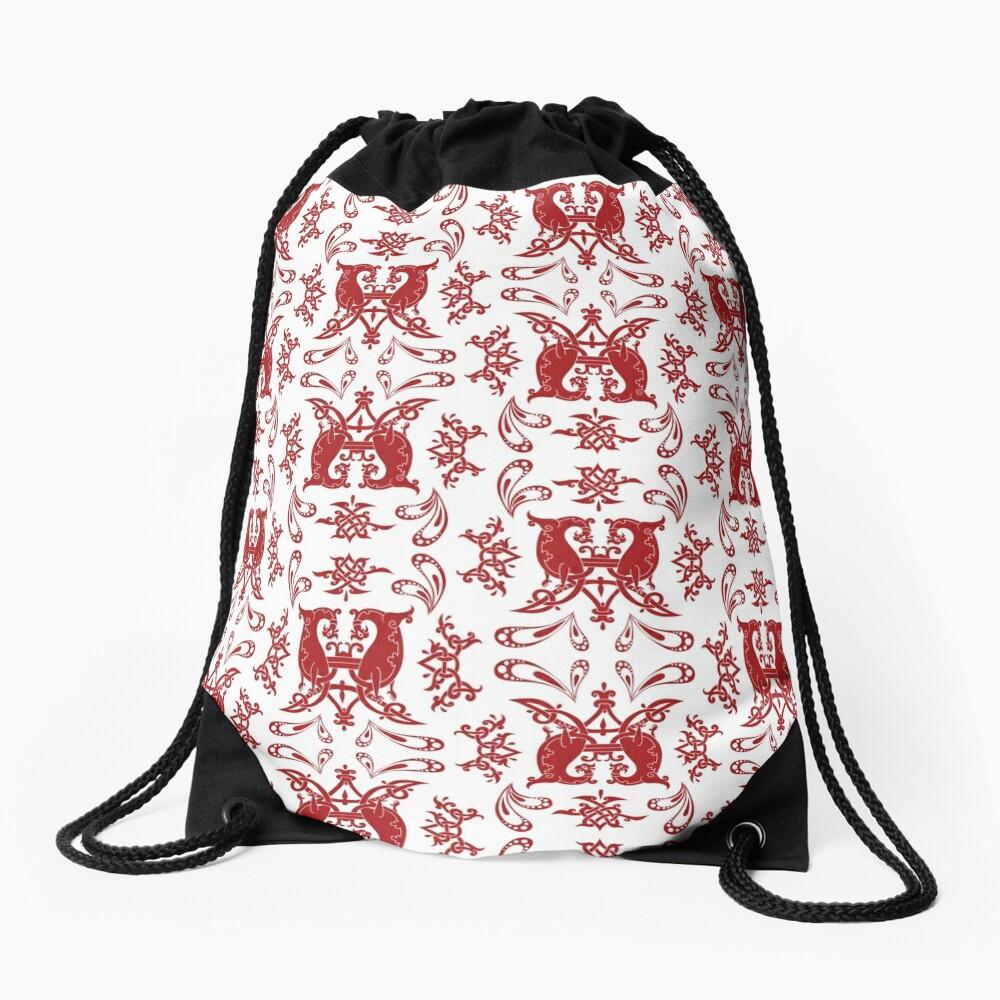 White + Red Slavic Patterns Drawstring Bag