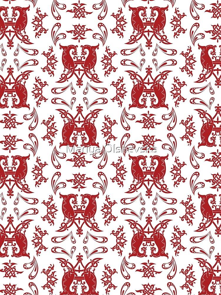White + Red Slavic Patterns by OzureFlame