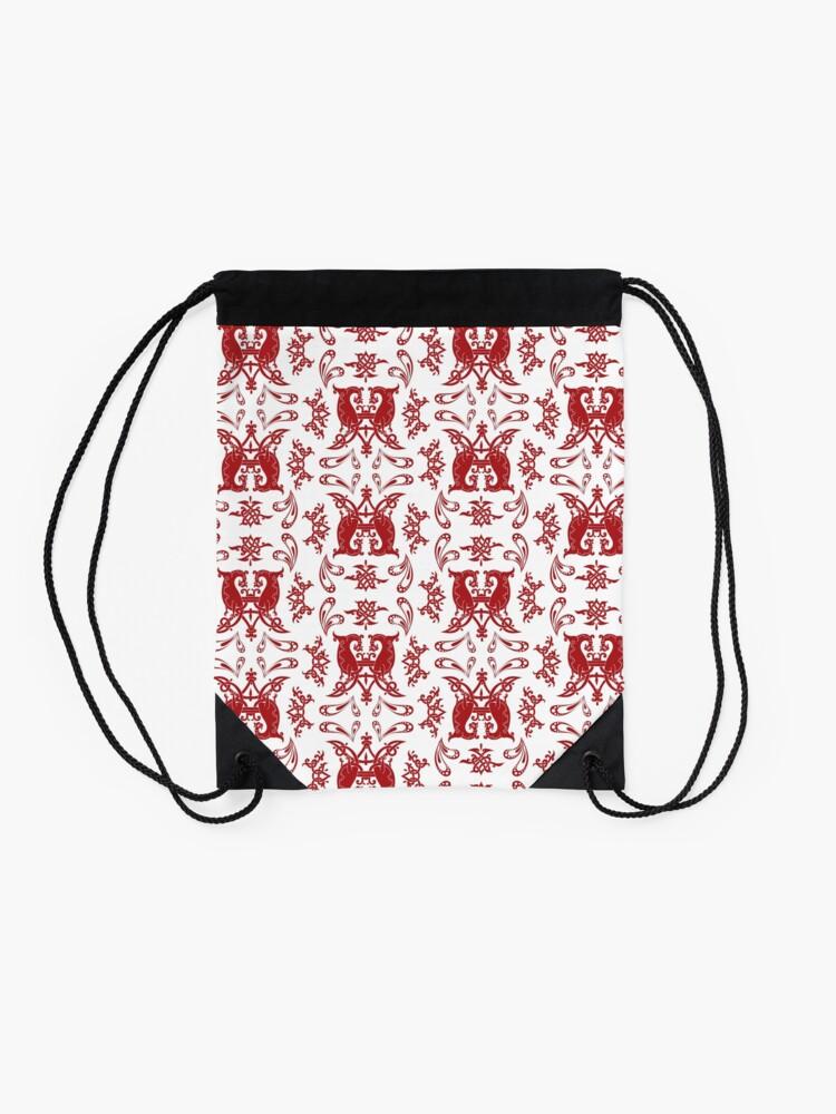Alternate view of White + Red Slavic Patterns Drawstring Bag