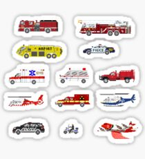 Emergency Vehicles - The Kids' Picture Show - 8-Bit Sticker