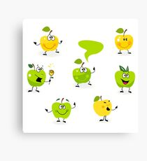 Funny green Apple fruit characters Canvas Print