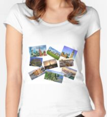 Europe Collage Women's Fitted Scoop T-Shirt