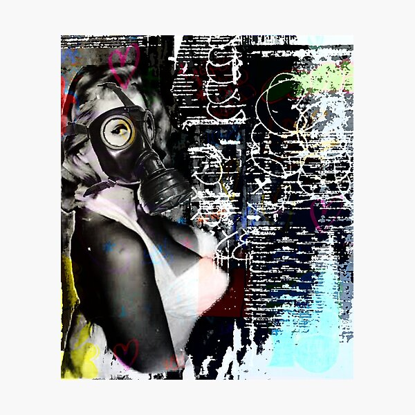 Gas mask girl | Pop art | Street-art aesthetics Photographic Print