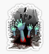 Zombie Hands on Cemetery Sticker
