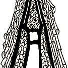 Upper case black and white alphabet Letter A by HEVIFineart