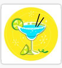 Blue Margarita: Retro cocktail icon on yellow background Sticker