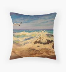 Gull over the Pacific Throw Pillow