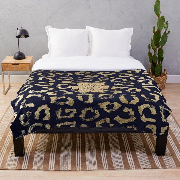 Modern navy blue faux gold hipster cheetah animal print Throw Blanket