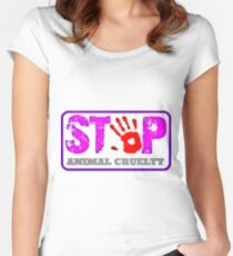STOP violence against animals! Women's Fitted Scoop T-Shirt