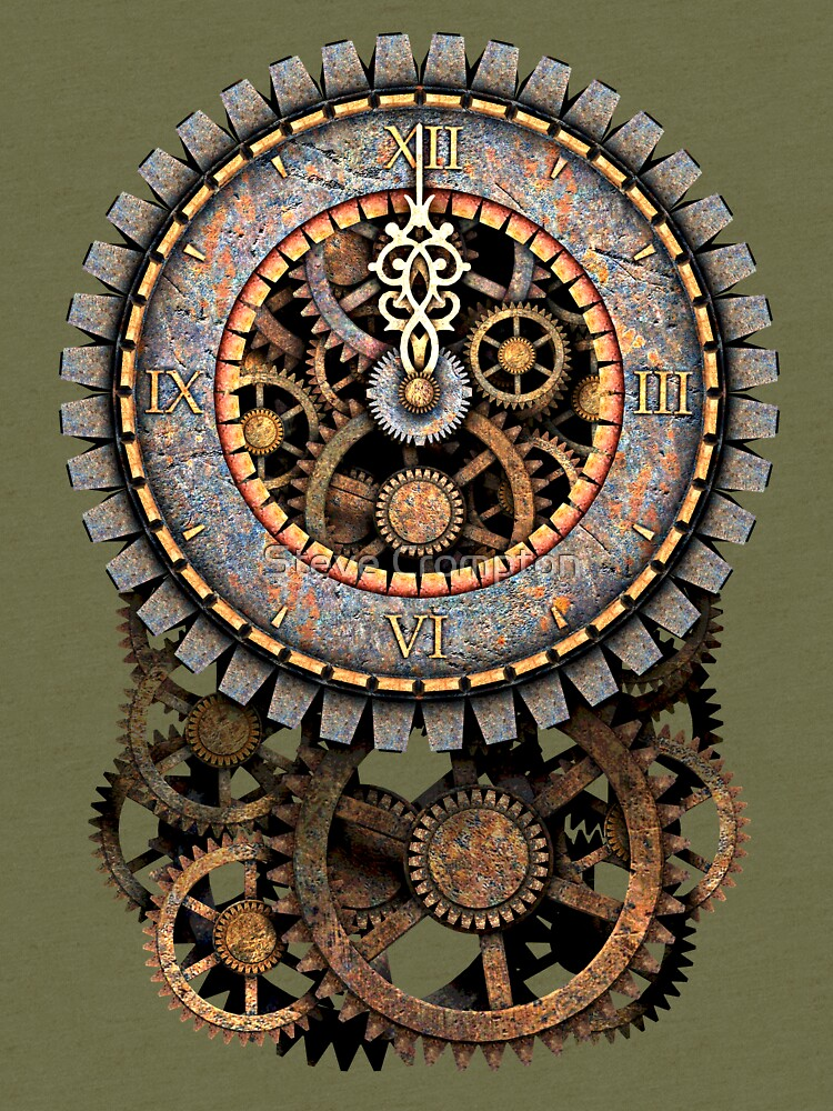 Vintage Steampunk Clock (Stopped at Midnight!...OO-Er!!) Steampunk T-Shirts by SC001