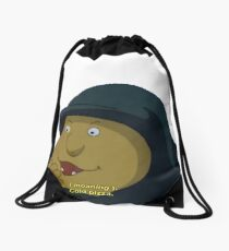 (moaning) cold pizza. Drawstring Bag