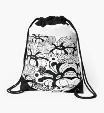 black and white blossoms barely contained Drawstring Bag