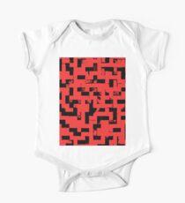 Line Art - The Bricks, tetris style, red and black One Piece - Short Sleeve