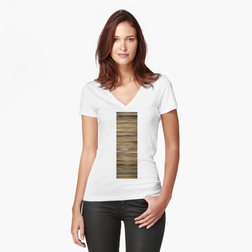 Leon Farbeblenden Tailliertes T-Shirt mit V-Ausschnitt