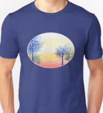 Sunset with Blue Trees Unisex T-Shirt