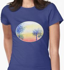 Sunset with Blue Trees Women's Fitted T-Shirt