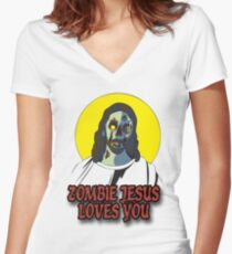 Zombie Jesus Loves You Women's Fitted V-Neck T-Shirt