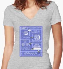 Oreo Eating Instructions Women's Fitted V-Neck T-Shirt