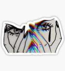 Trippy Crying Girl  Sticker