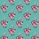 Pansy Purple on Teal by ThistleandFox