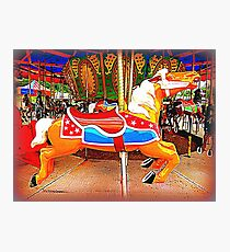 Flying Horsey With Red Saddle Photographic Print