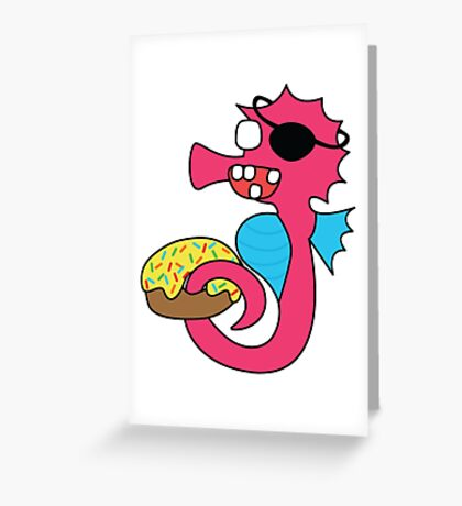 zombie pirate seahorse dangles a donut Greeting Card