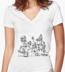 Houses at stilts at the water. Maze- like illustration. Women's Fitted V-Neck T-Shirt
