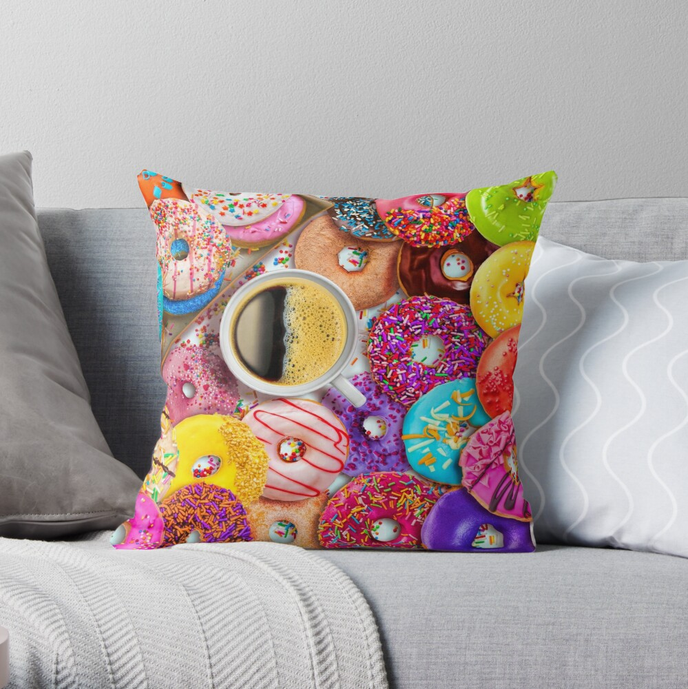 Donuts & Coffee Throw Pillow