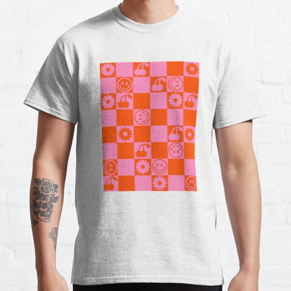 HAPPY CHECKERS - pink and orange Classic T-Shirt