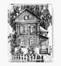 Russian old log house. Black and white iPad Case/Skin