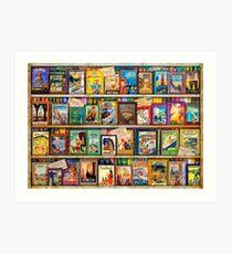 Travel Guide Book Shelf Art Print