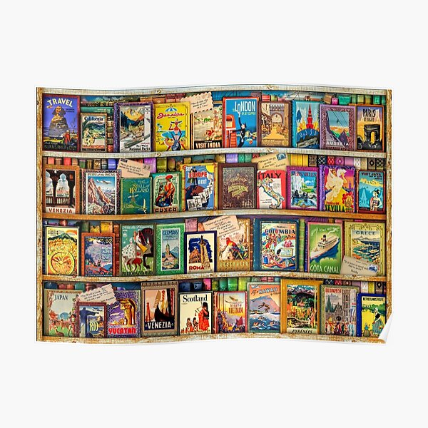 Travel Guide Book Shelf Poster