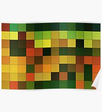Abstraction #151 Orange Yellow Brown Green Squares  Poster