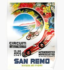 1947 San Remo Grand Prix Race Poster Poster