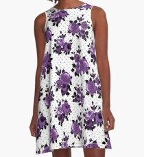 Purple Floral A-Line Dress