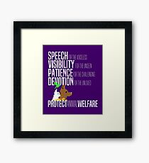 Protect Animal Welfare (white text) Framed Print