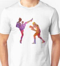 Woman boxwe boxing man kickboxing silhouette isolated 01 Unisex T-Shirt