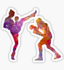 Woman boxwe boxing man kickboxing silhouette isolated 01 Sticker