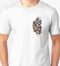 Camiseta ajustada Diseño de tatuaje tradicional serpiente y flores geométricas
