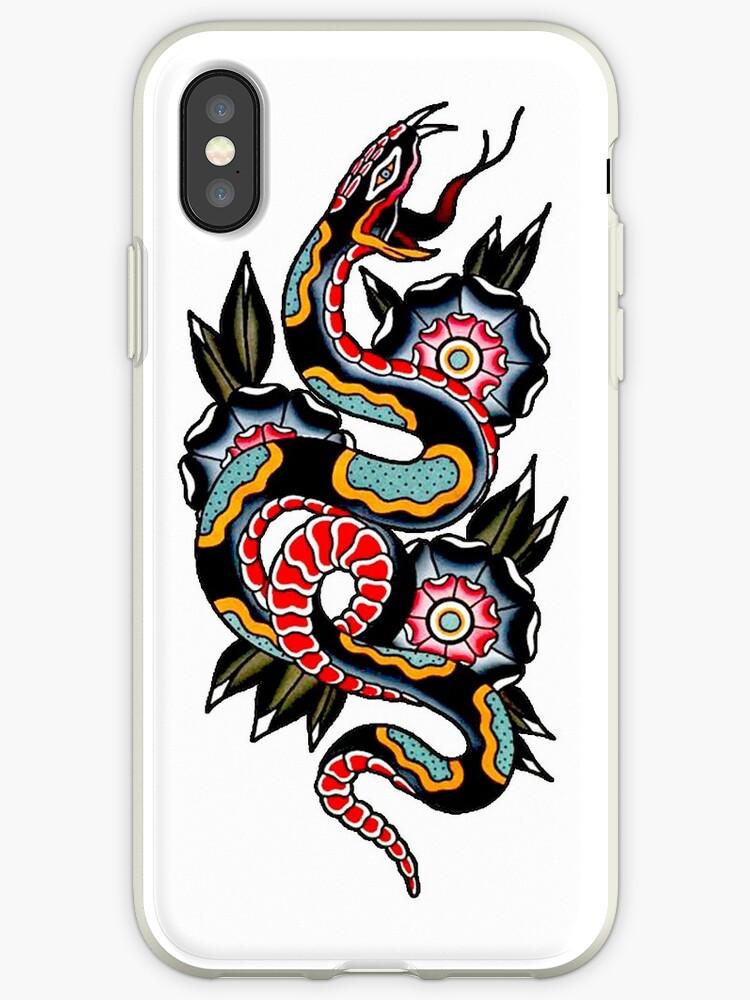 e813492389a8c Traditional Snake and Geometric Flowers Tattoo Design