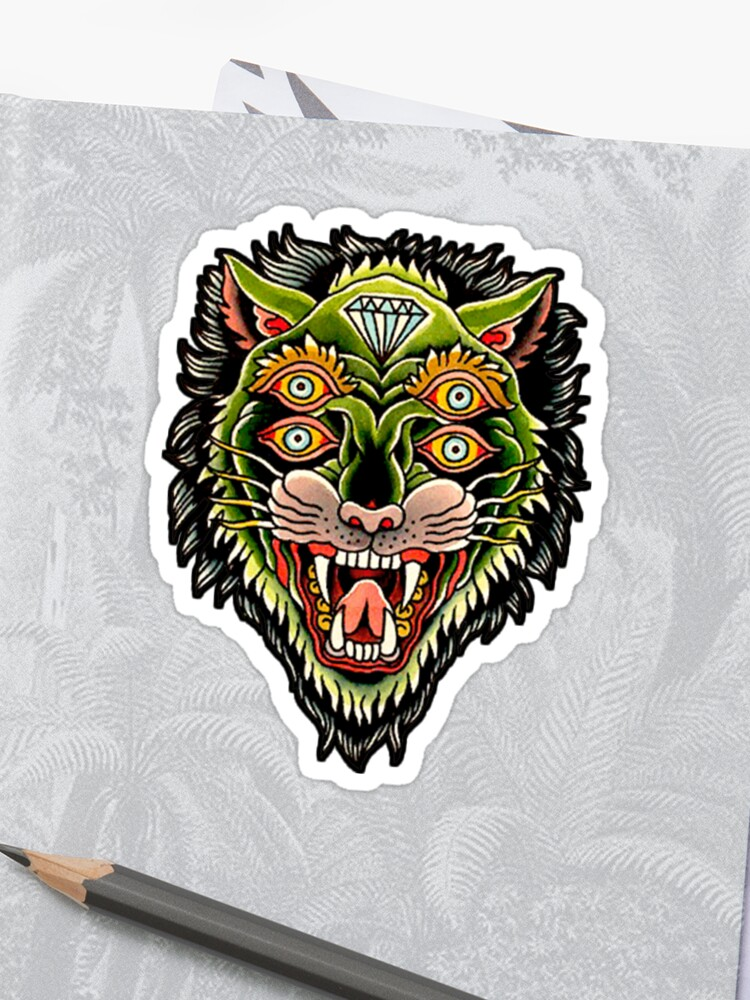 469b5fc98 Traditional Tiger Monster Diamond Tattoo Design