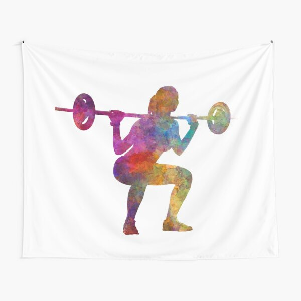 Body building woman isolated Tapestry