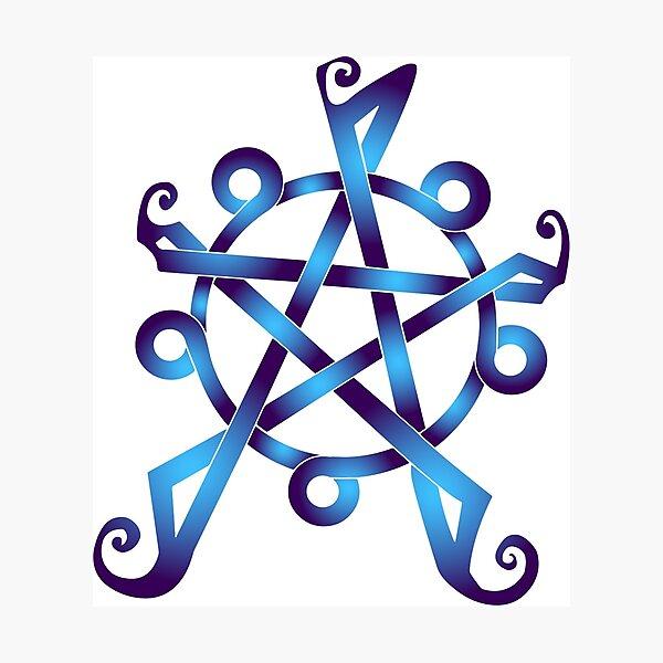Pentagrama de agua de nudo céltico Lámina fotográfica